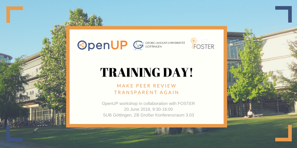 OpenUP Training Workshop on open peer  review: 20th June 2018, Gottingen
